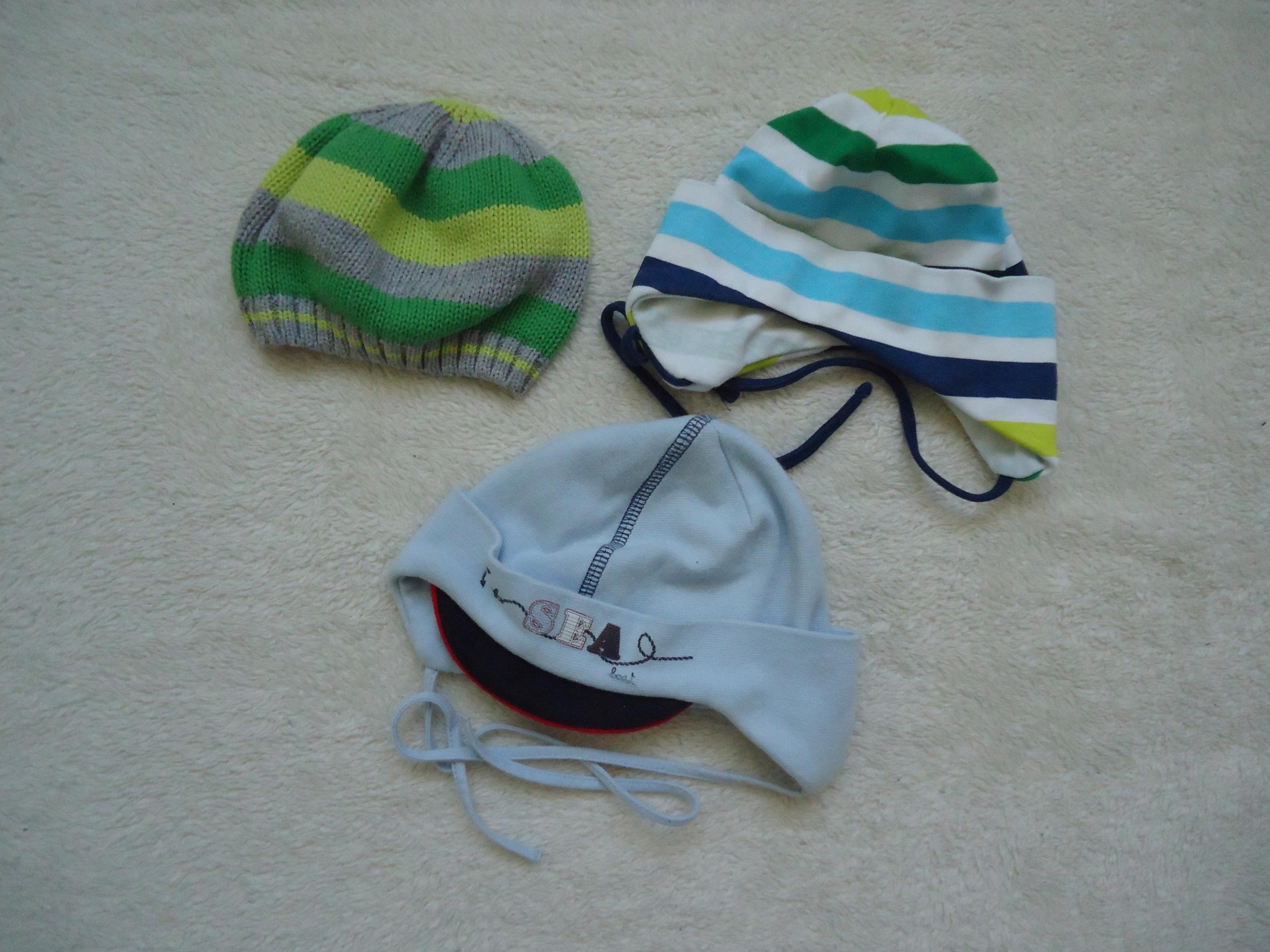d2f138650b9cd9 Czapeczki niemowlęce 3 sztuki wyprawka chłopiec - 7640180612 ...