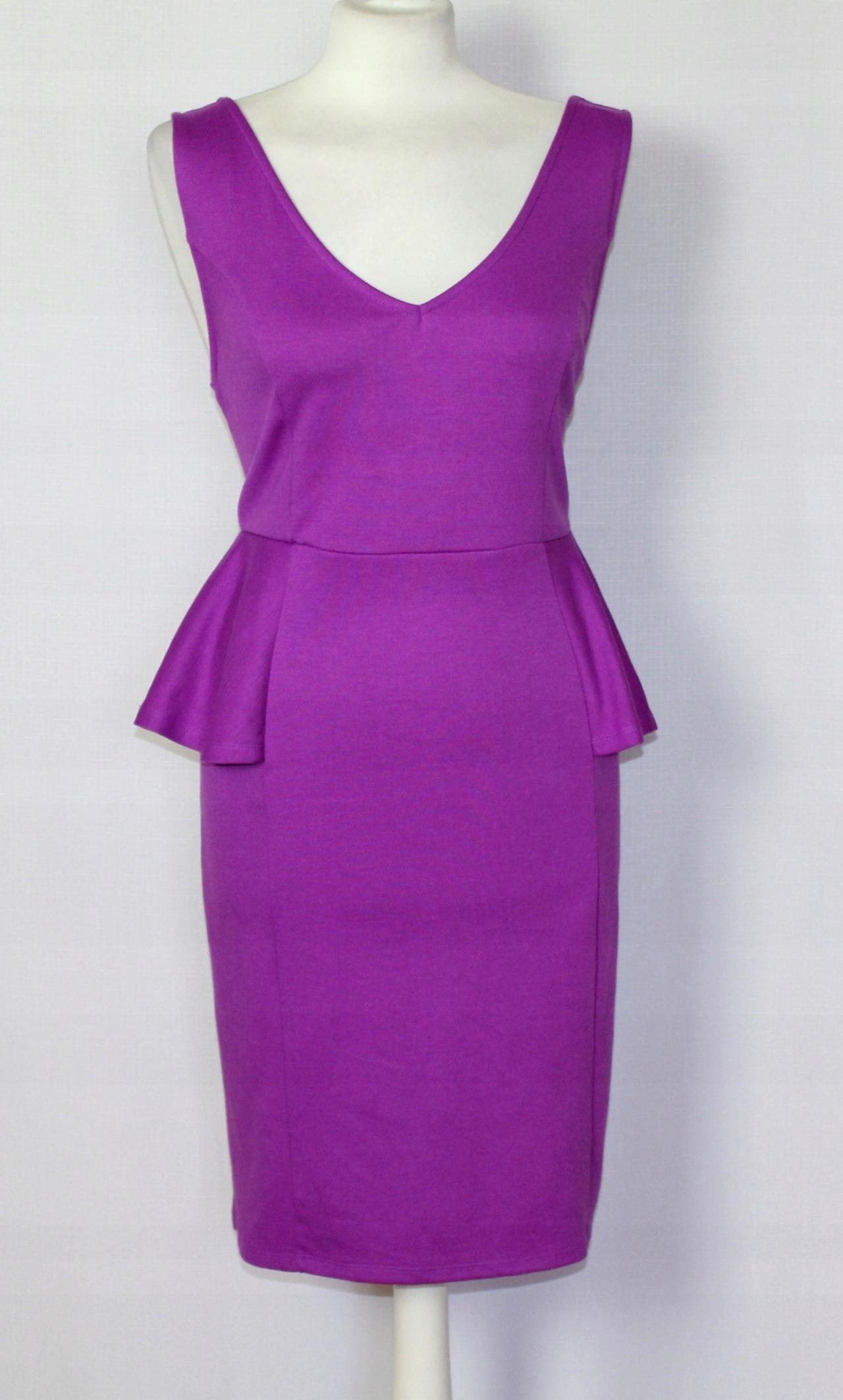 45dad09cba Fioletowa ołówkowa sukienka z baskinką 42 XL 14 - 7507985848 ...