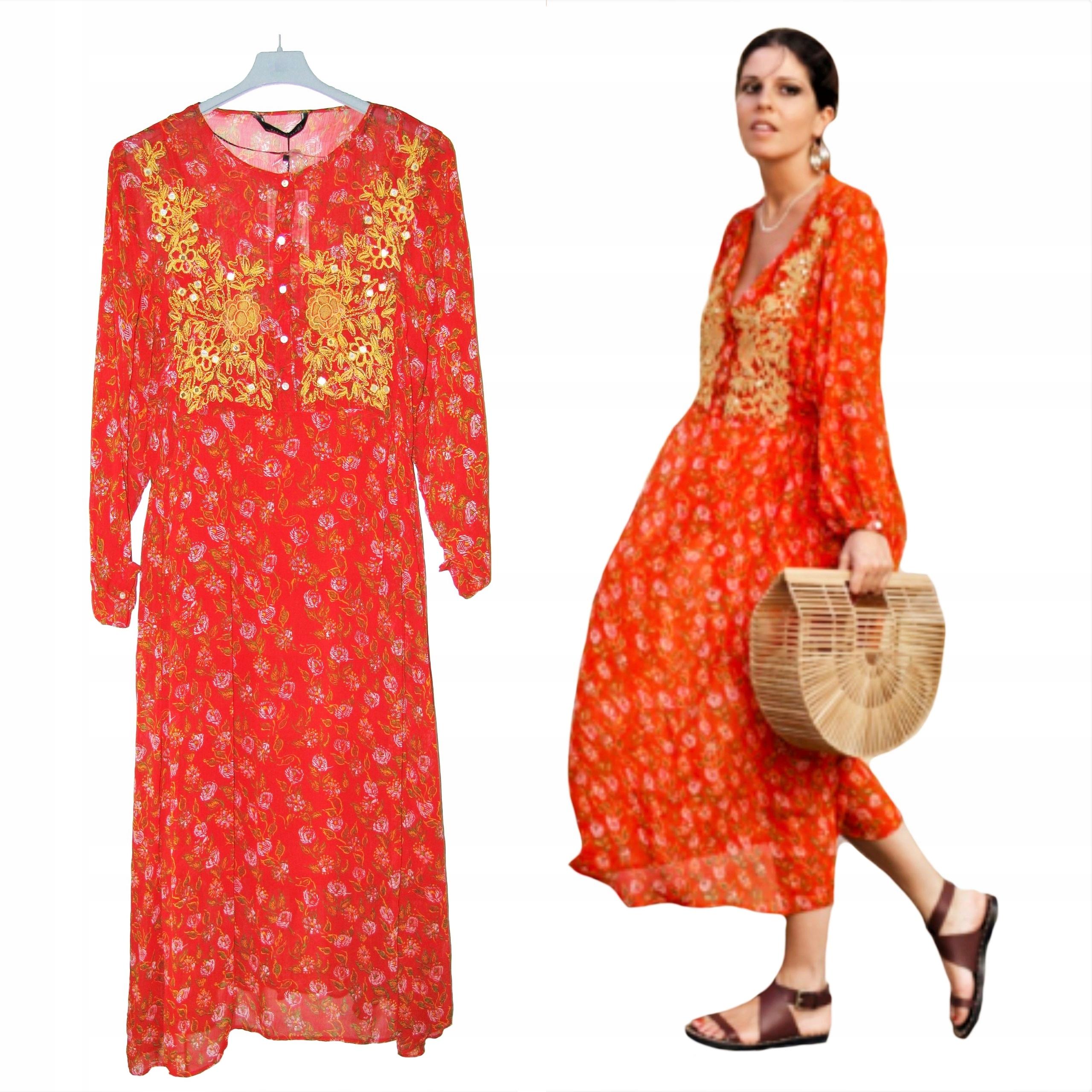 573c4cb9fe ZARA Piękna Długa Czerwona HAFTOWANA Sukienka L - 7510127301 ...
