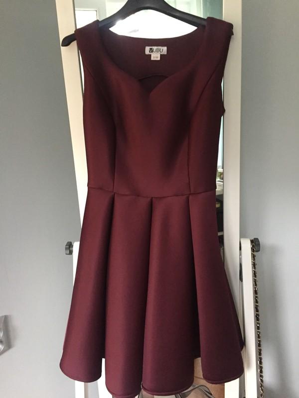 d49dbb5395 Vubu NOWA bordowa rozkloszowana sukienka S 175 - 7115120179 ...