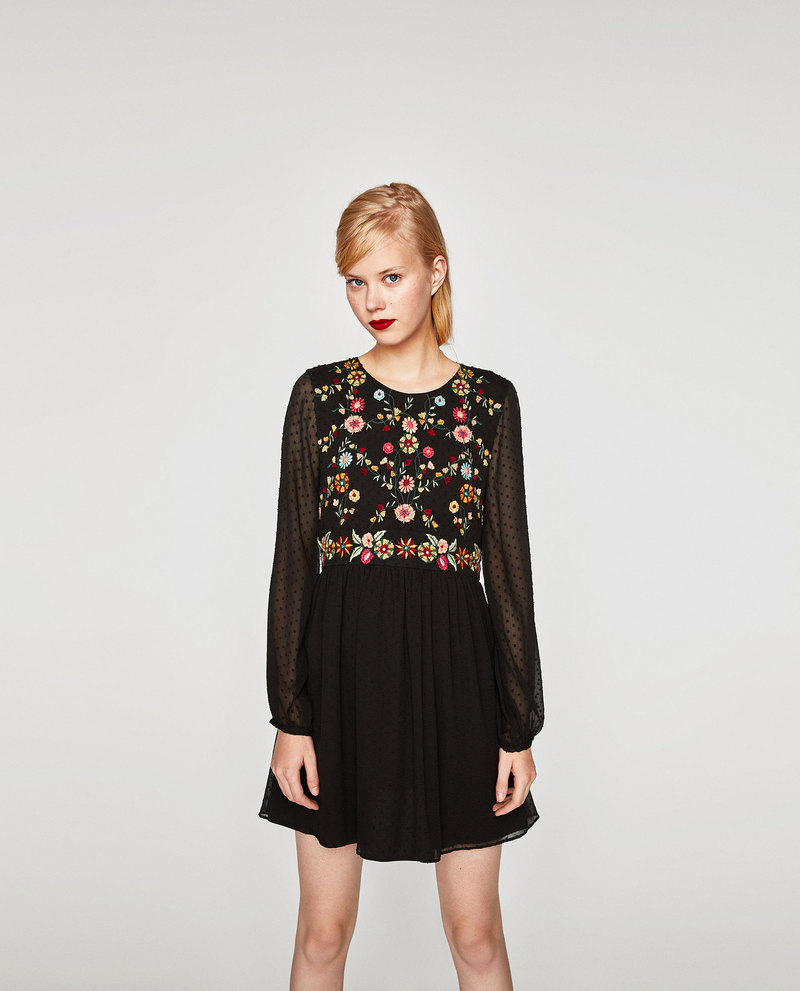 e635553daf sukienka z tkaniny plumeti z haftem Zara XL - 7132011759 - oficjalne ...