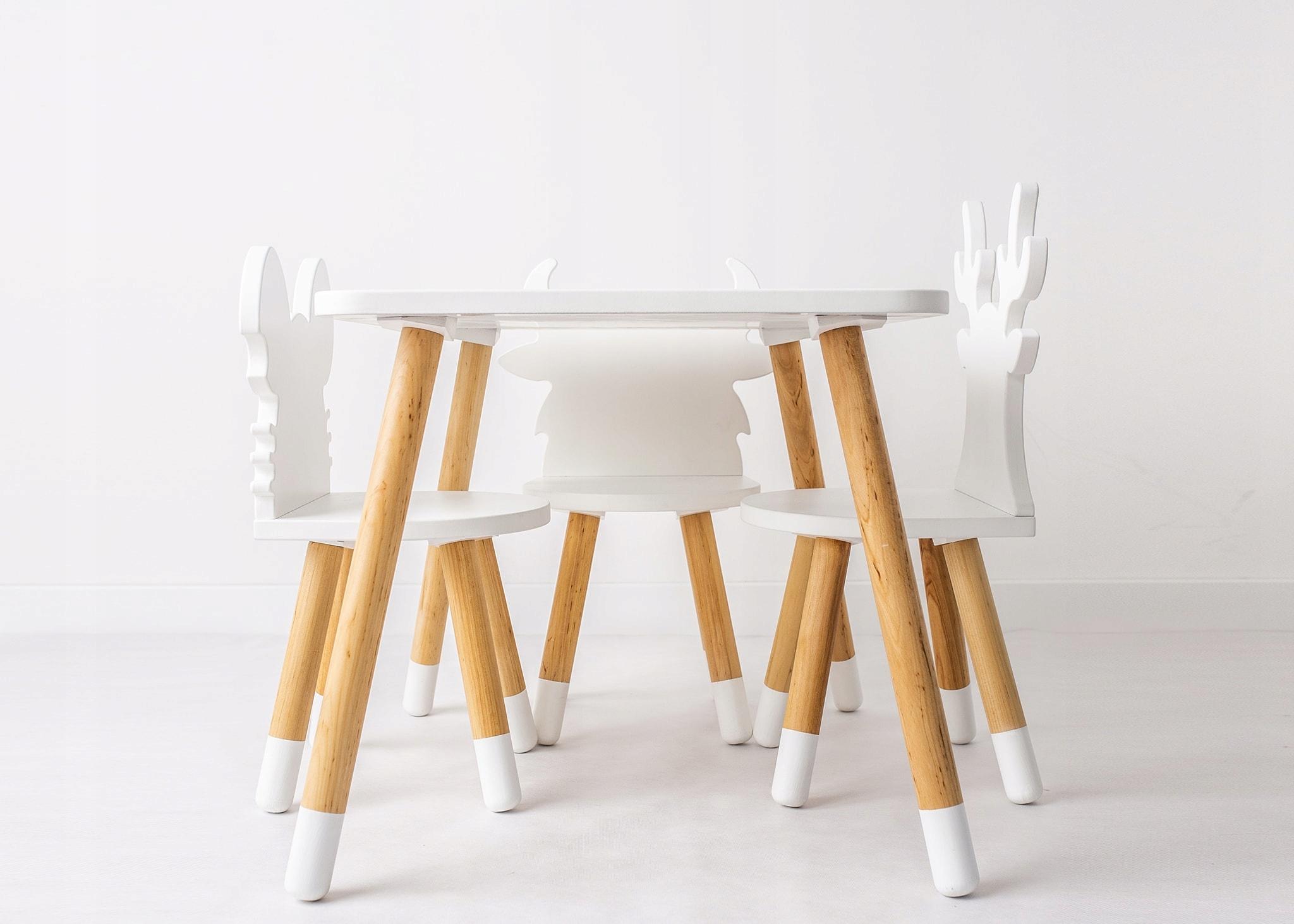 Krzesełko I Stolik Drewniany Dla Dzieci Komplet 7657371607