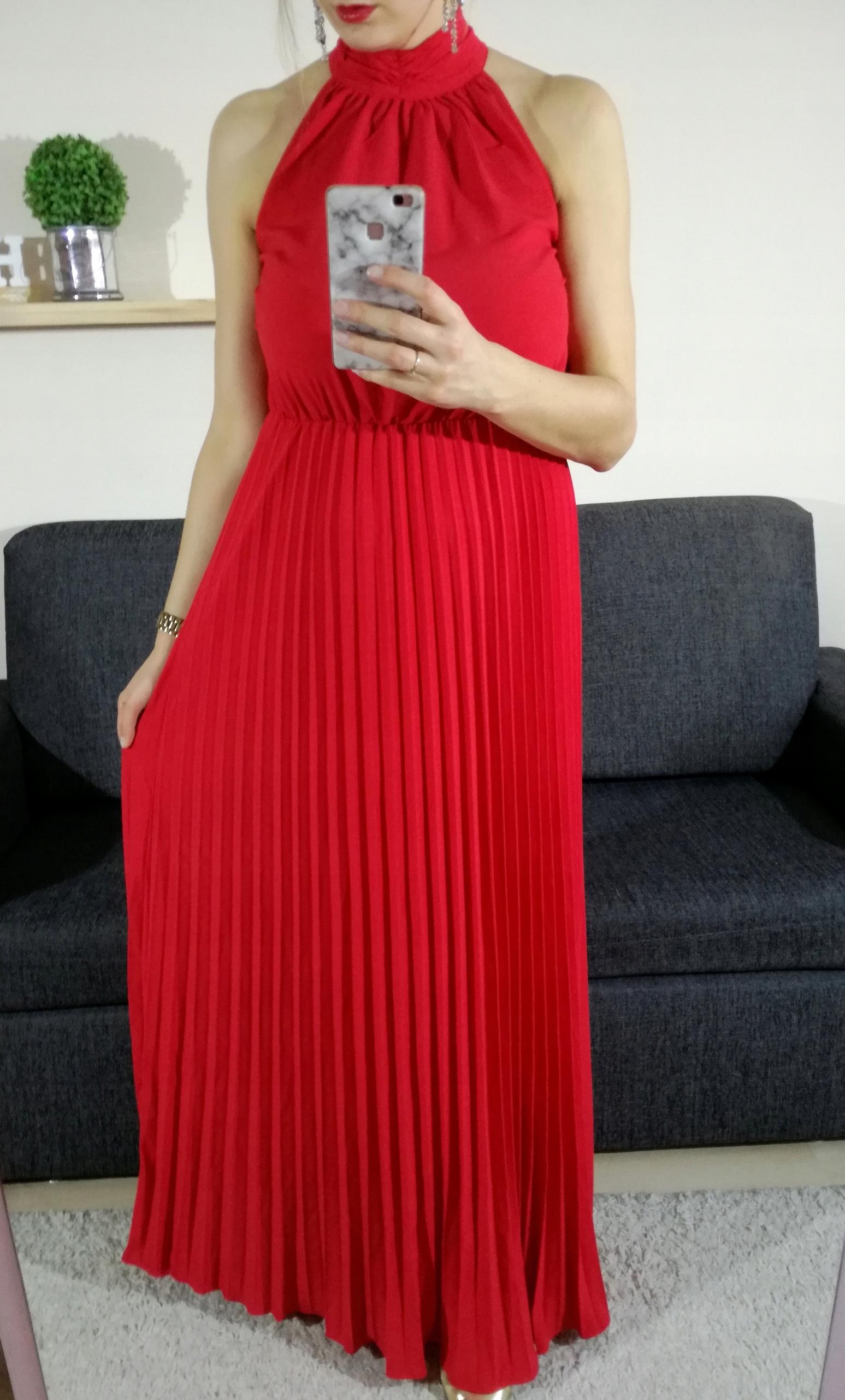 501c109adff2a Czerwona długa sukienka, maxi, studniówka jak ASOS - 7699976066 ...