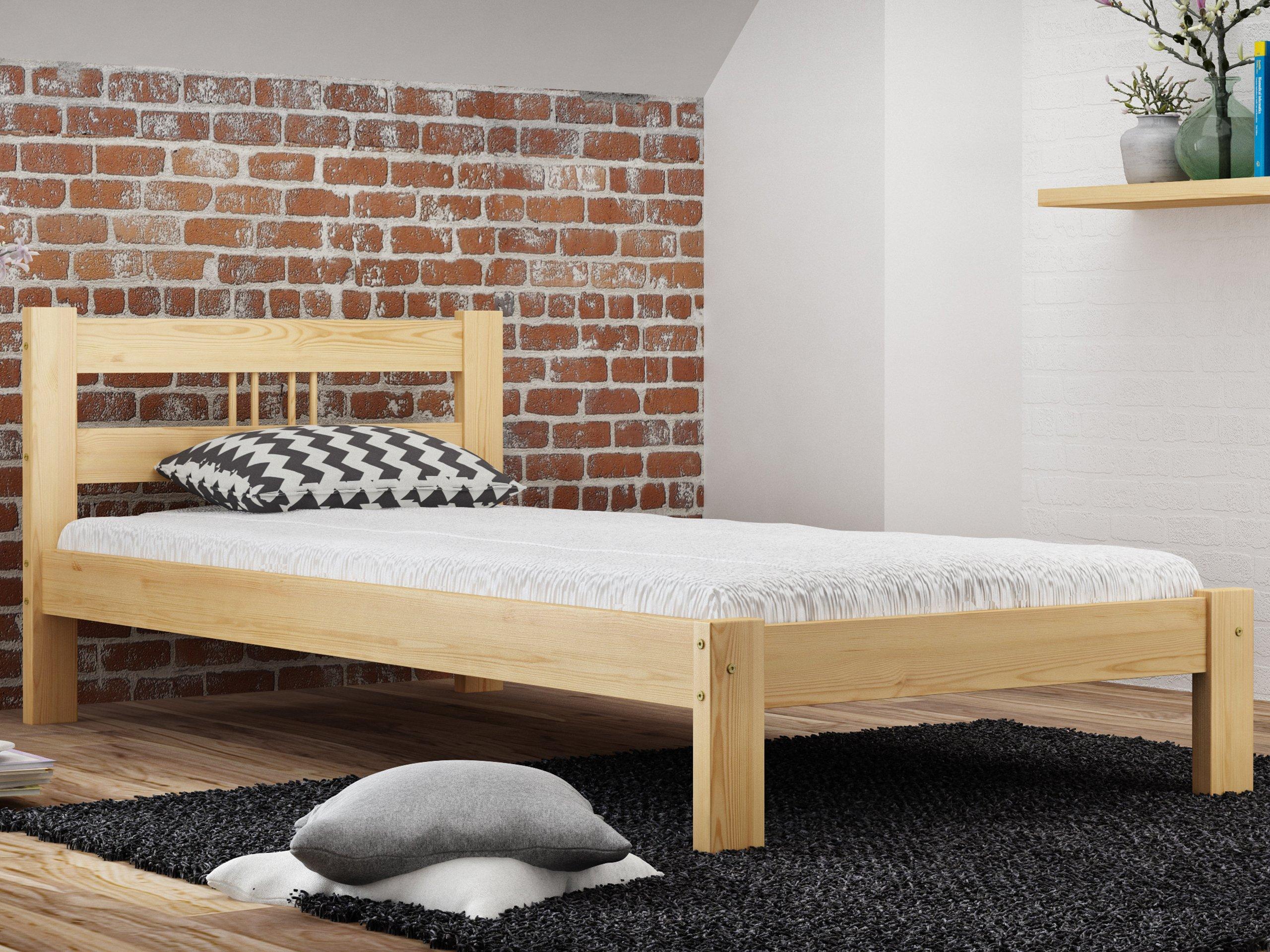 łóżko 90x200 Drewniane Masywne Wysoki Zagłówek F3