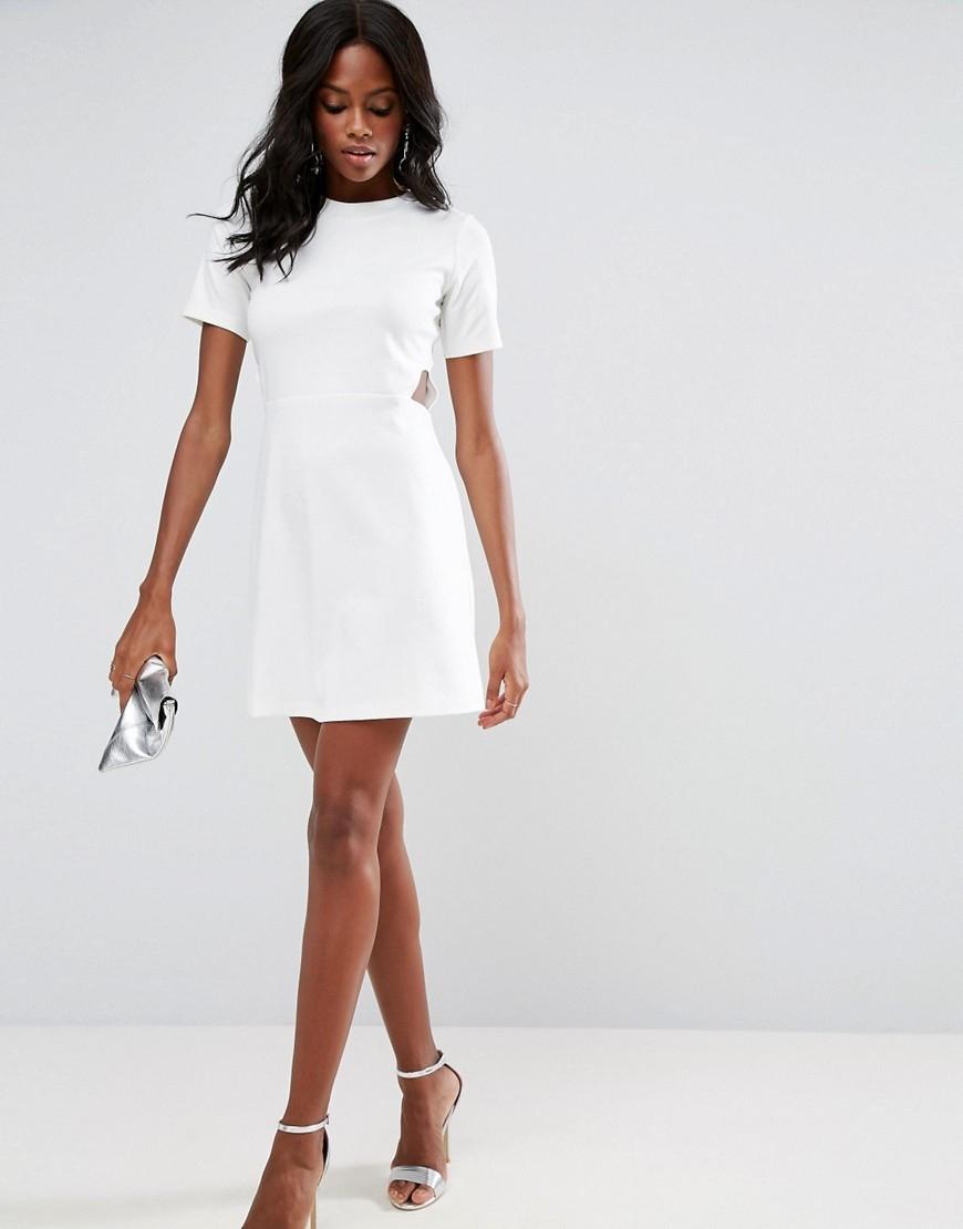 3170a655d0 Kremowa Mini Sukienka XS 34 - 7487493617 - oficjalne archiwum allegro