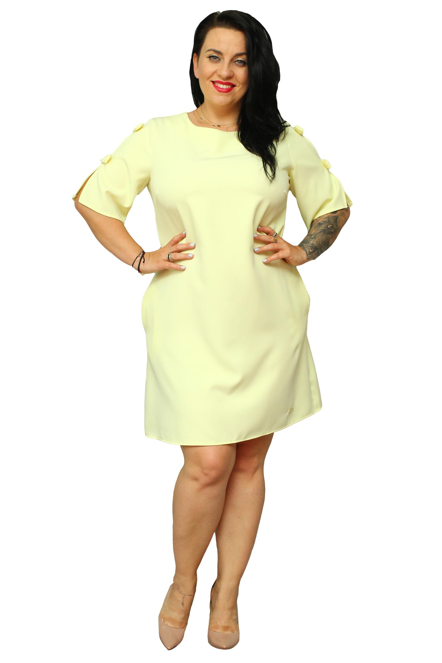 36312694dc Sukienka NATALIA kokardki na rękawkach żółta 42 - 7333934688 ...