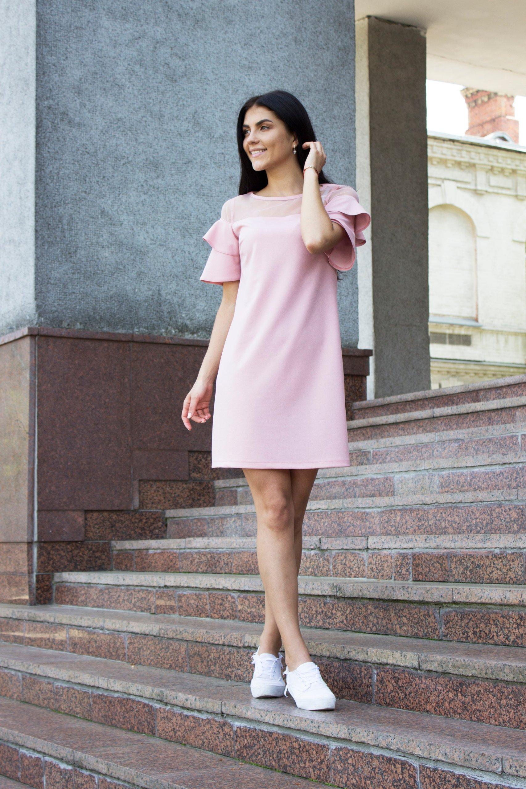 f68bb005f1 Zmysłowa sukienka z falbanami Pudrowy roz - 7434888314 - oficjalne ...