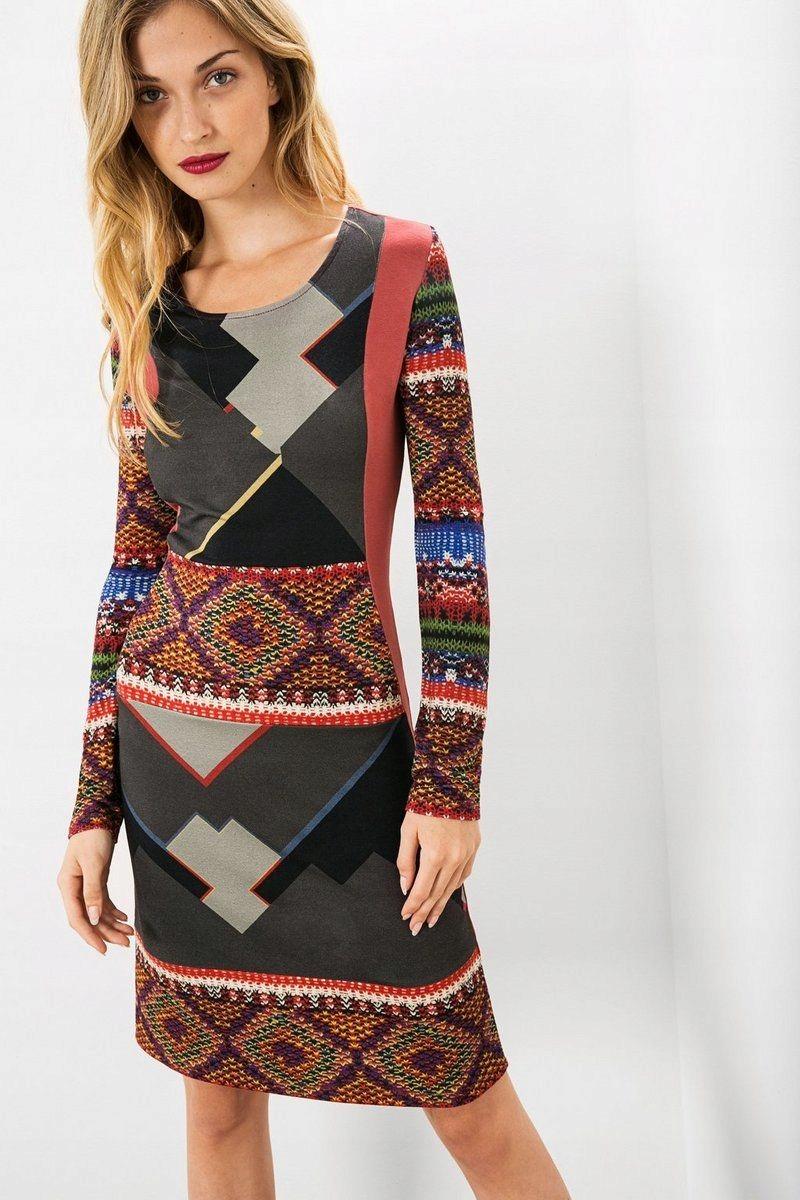 828b673ec8 DESIGUAL Kolorowa sukienka geometryczne wzory (L) - 7623182673 ...