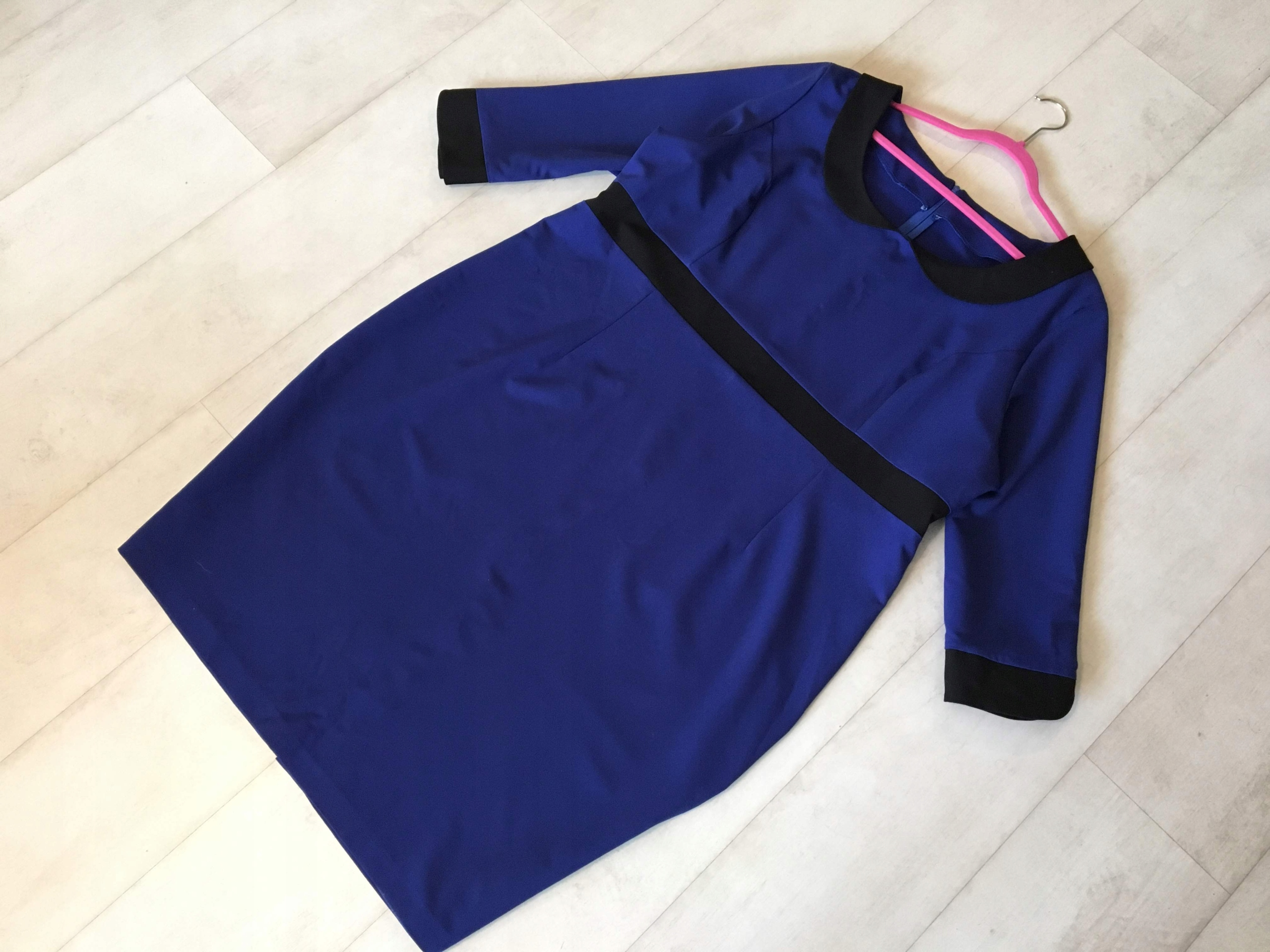 dd305202d3 Niebieska sukienka z kołnierzykiem 52 54 TANIO - 7712258367 ...