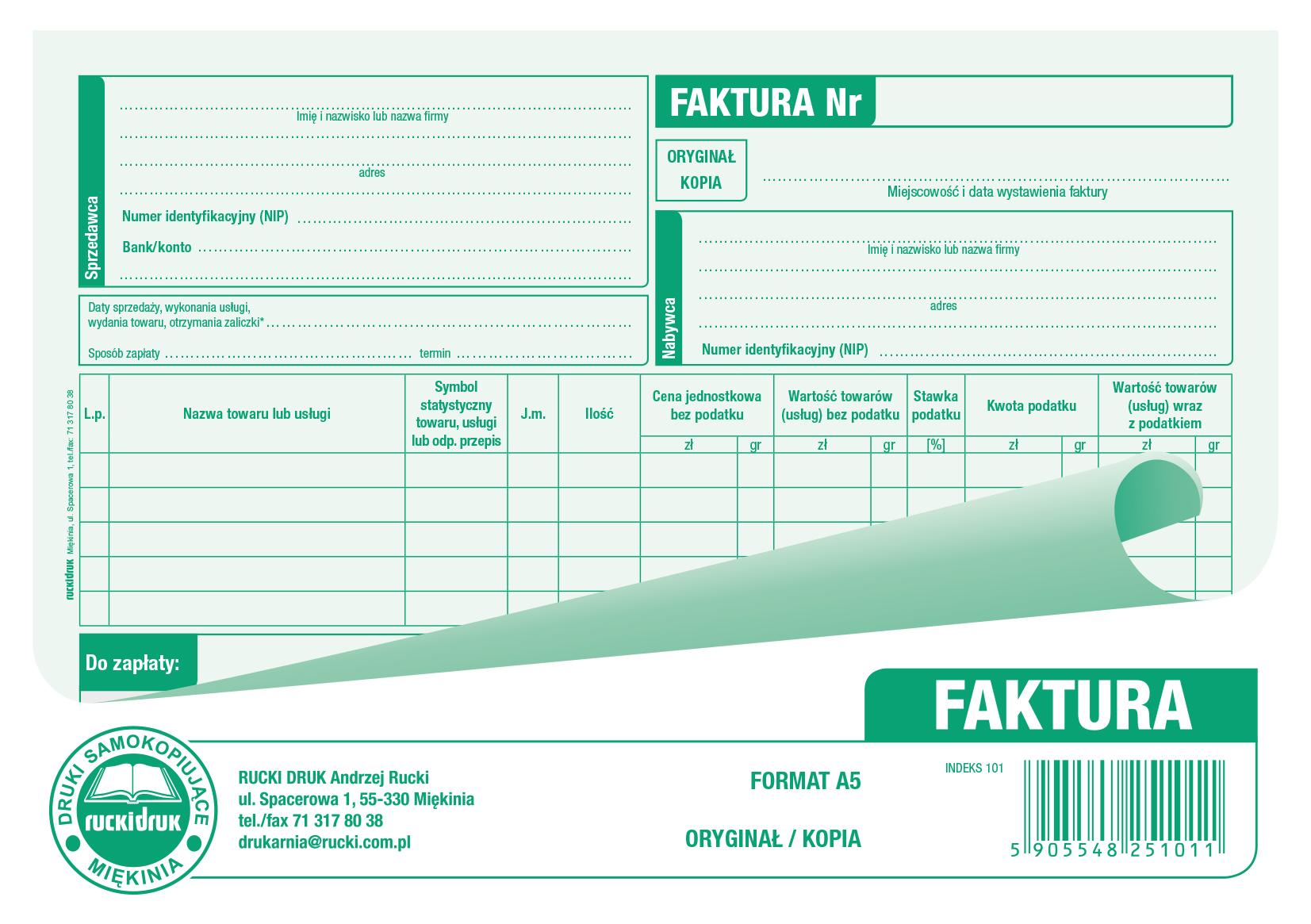 Druk Faktura Vat A5 80 Kartek 7226098153 Oficjalne Archiwum Allegro