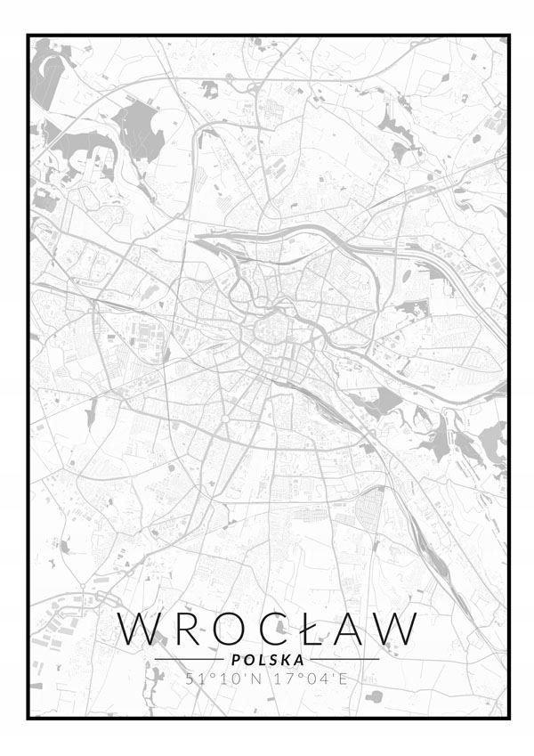 Wrocław Mapa Czarno Biała Plakat 7693371786 Oficjalne