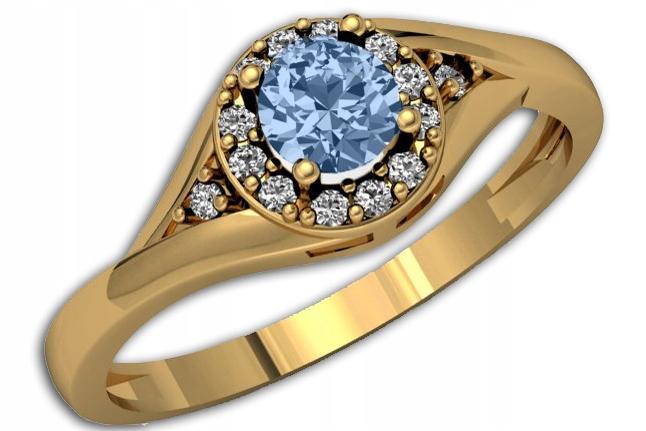 50złoty Pierścionek Zaręczynowy Akwamaryn R23 7369172072
