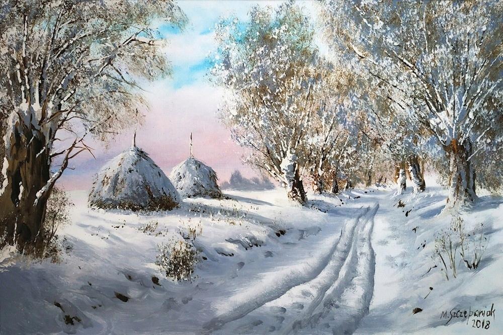 M.Szczepaniak `Zima na polach` 60x40