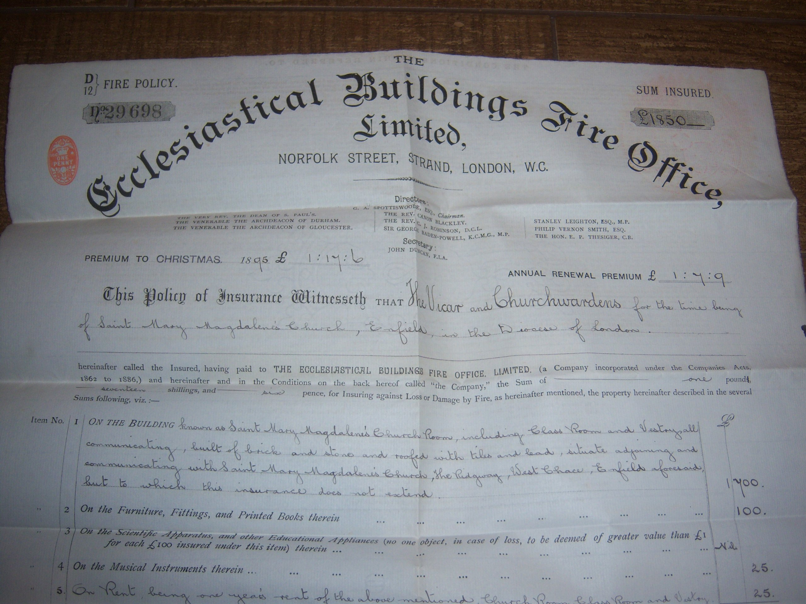 ANGLIA WIELKA POLISA ECCLESIASTICAL Z 1894 ROKU