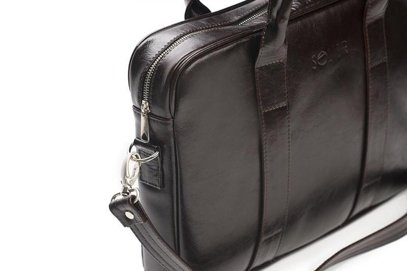 b0d52c438ea52 Skórzana męska torba na laptopa Ciemny brąz Solier - 6999156687 ...