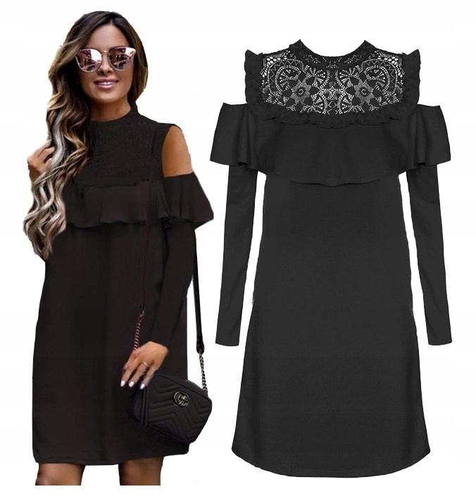 7666d26172 Sukienka trapezowa koktajlowa koronka czarna XL 42 - 7579295108 ...