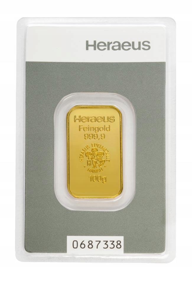 Sztabka Złota - Heraeus - 100 g (tłoczona)