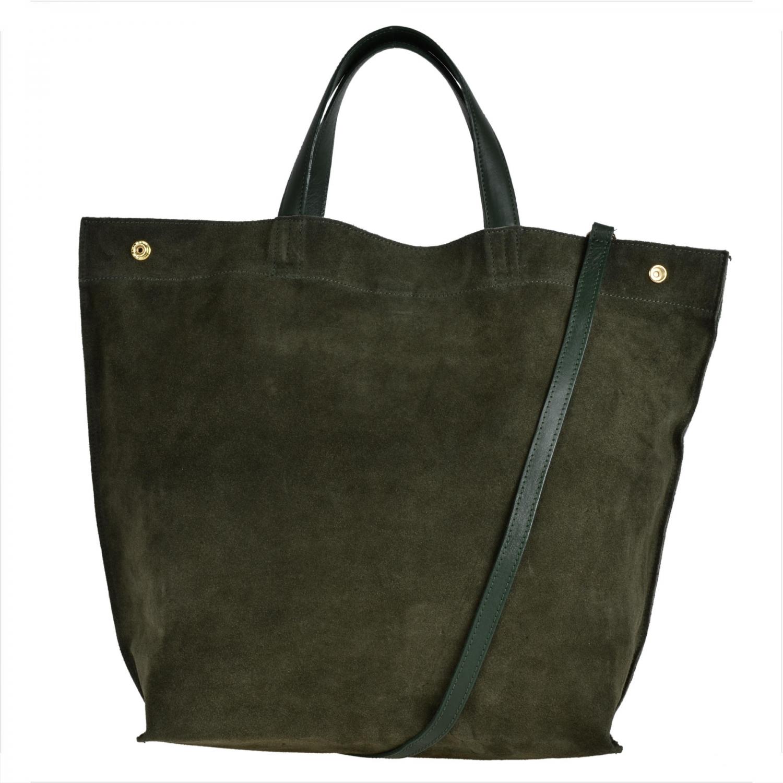 ad1200aaf5f2c Bardzo duża skórzana torebka shopper bag oliwka - 7038687633 ...