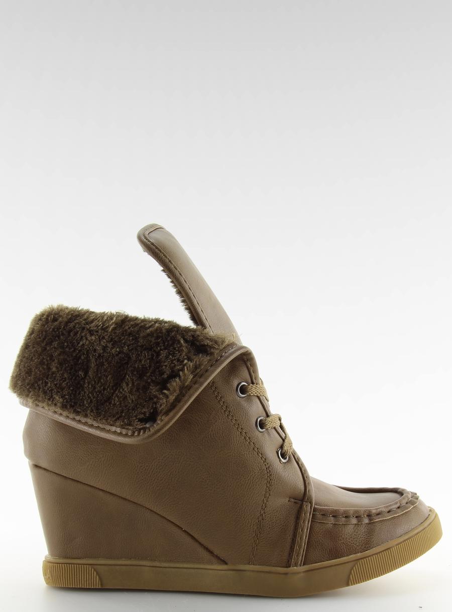 196b0a9d2c177 Botki sznurowane KHAKI 39 Koturn obuwie buty - 7063715292 ...