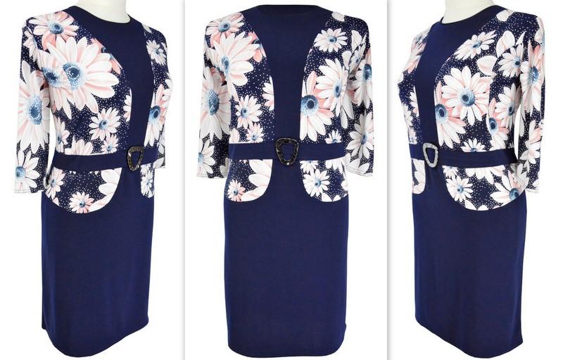 1a4debb05 ELEGANCKA sukienka 2w1 KWIATY (r. 56) ŚLUB KOMUNIA - 7251238610 ...