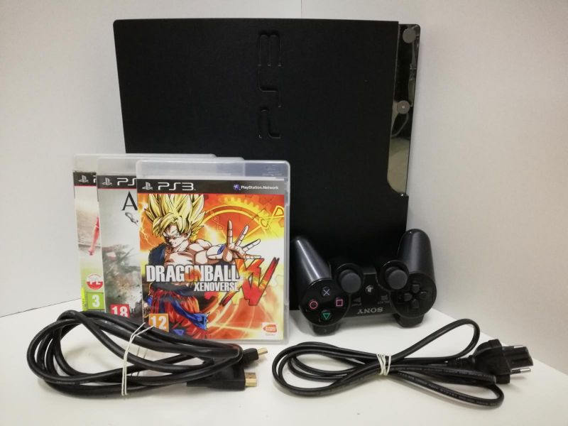 KONSOLA PS3 SLIM +PAD +ZASILACZ +KABEL HDMI +3 GR