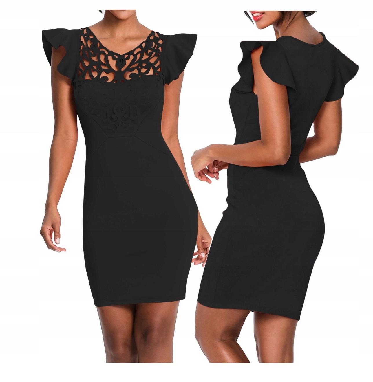 d93b1d40f2 Sukienka koktajlowa czarna strapsy 220287 XL 42 - 7447983451 ...