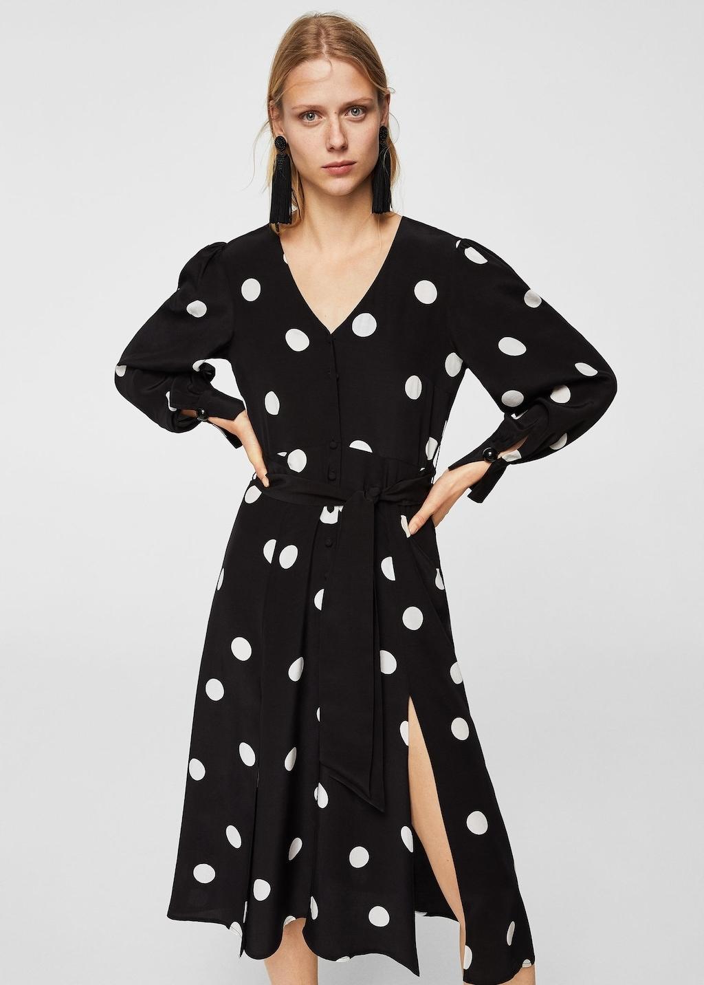2eddf4b440 MANGO Sukienka w grochy z wiązaniami retro boho M - 7515649663 ...