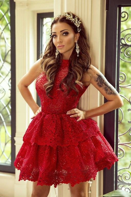 96355af37b sukienka koronka czerwona studniówka wesele S