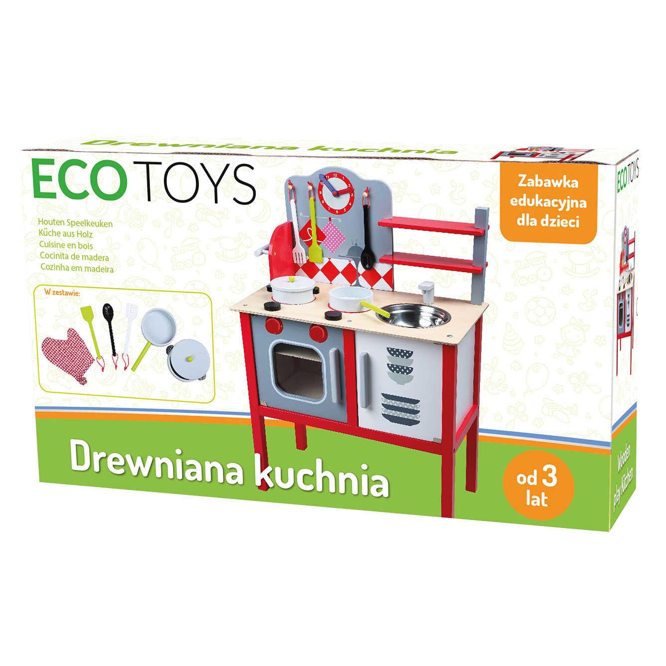 Drewniana Kuchnia Dla Dzieci Ecotoys Garnki 4201 6966689730