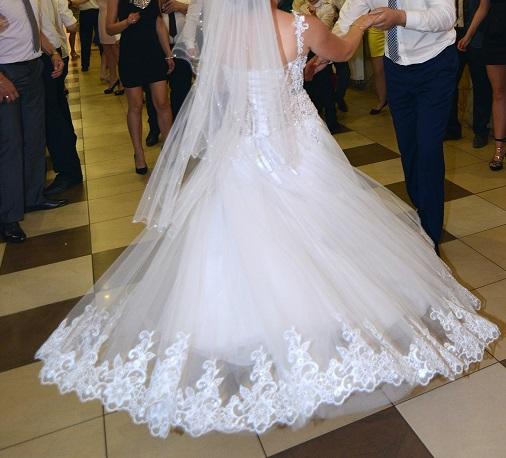 Suknia ślubna Gorset Perły Cekiny Buty R 38 M 7181898307