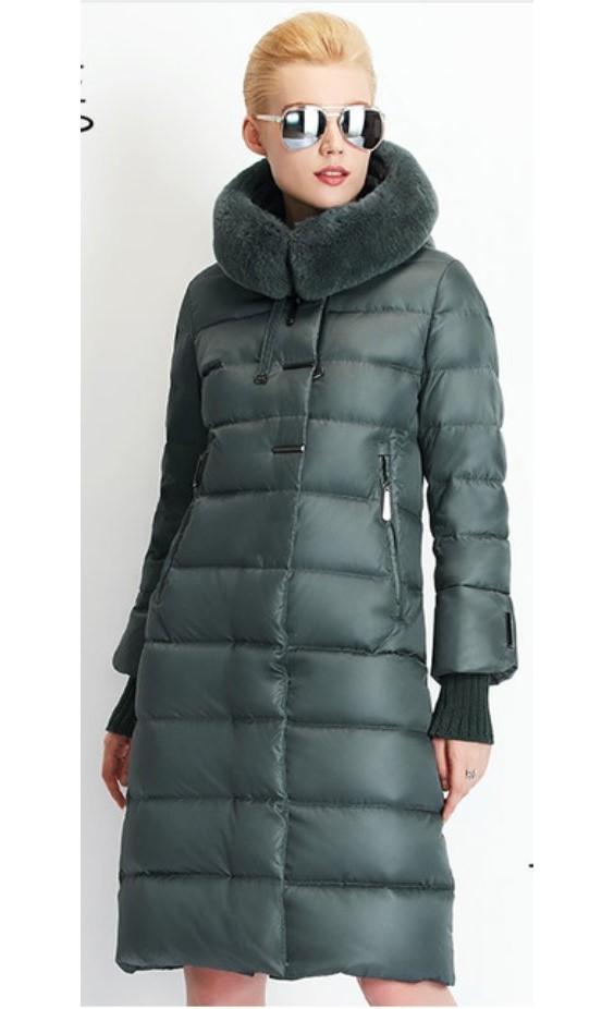 640e36871506 24h zielony długi płaszcz futro królik puchowy 46 - 7078183106 ...
