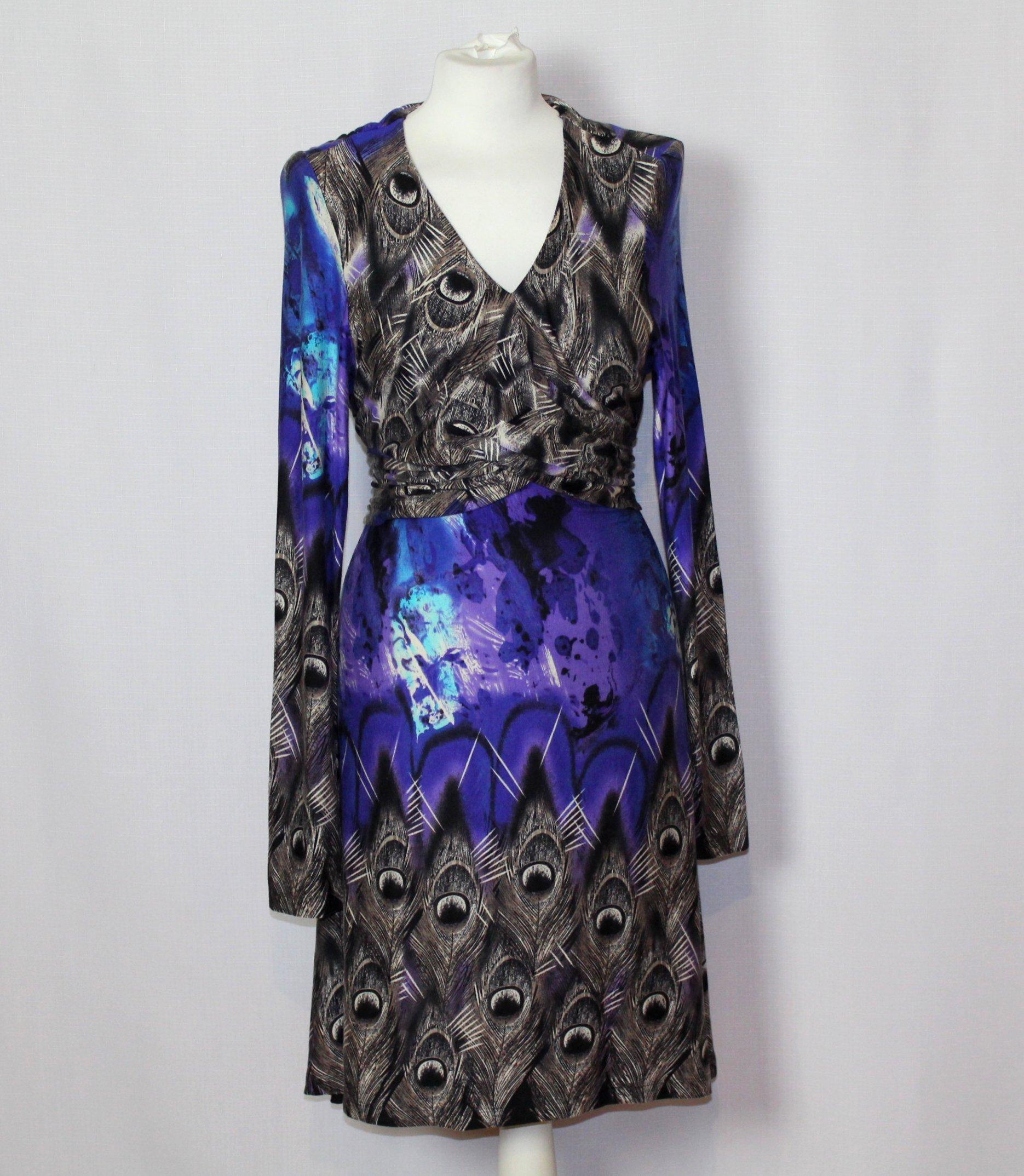 a800406269 Rozkloszowana sukienka pawie pióra ANNA SCOTT 42 - 7097962303 ...