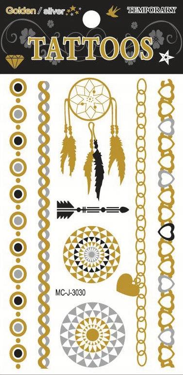 Złoty Tatuaż Metaliczne Tatuaże Złote Tattoo Wzór4
