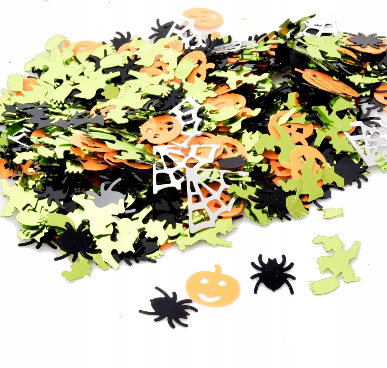 Upiorne konfetti pajaki dynie pajęczyna czarownica