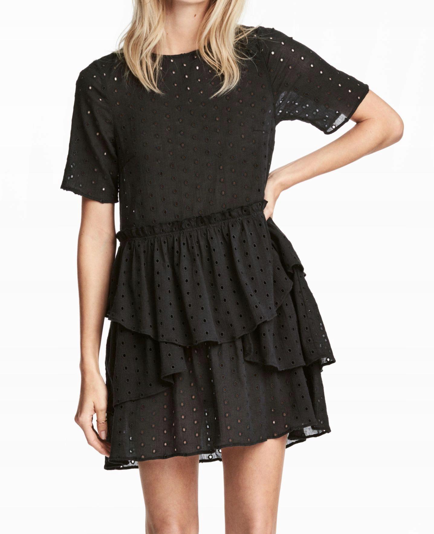 1263c5303c H M czarna sukienka z ażurowym haftem 44 XXL - 7670216418 ...