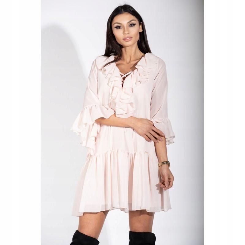 e44c20938e Zwiewna sukienka mini z wiązanym dekoltem Beżowy 3 - 7723291684 ...