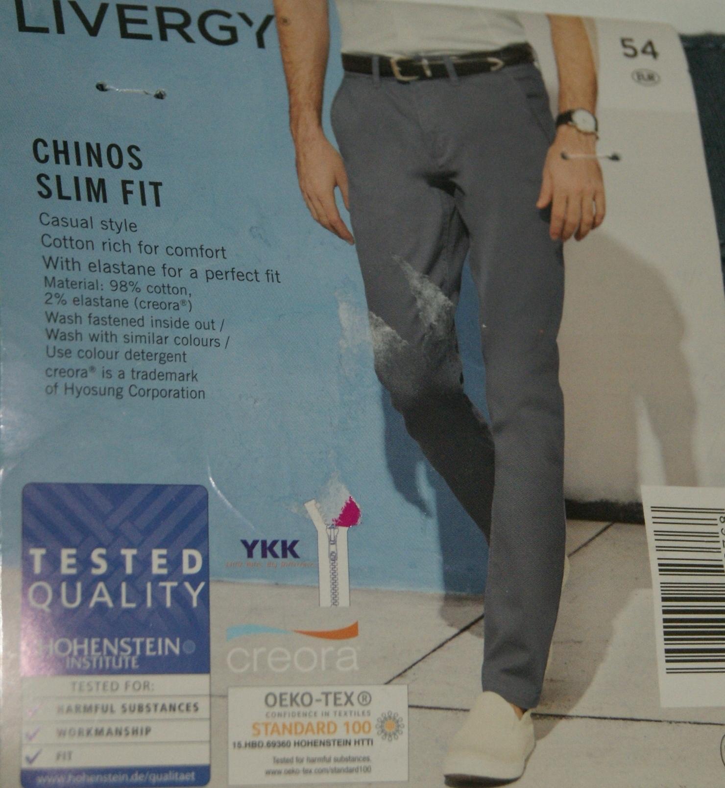 efaa230fd2ec65 Męskie spodnie CHINOS SLIM FIT LIVERGY ROZ. 54 - 7599162892 ...