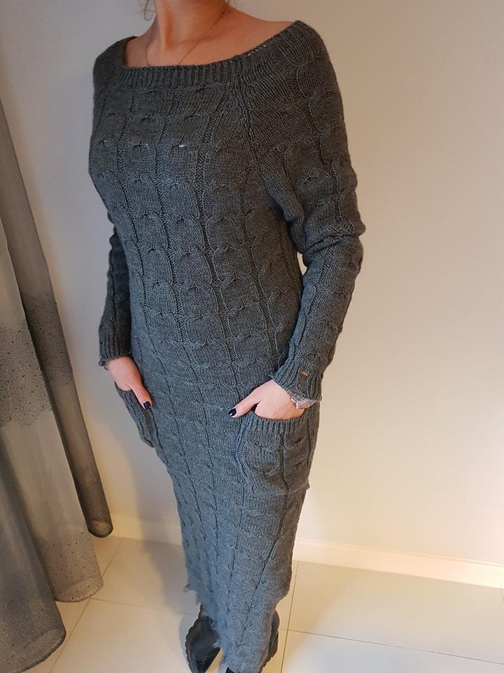 a5eed9c9a67cc4 Sweter sukienka warkocze rozcięcia szary WYPRZEDAŻ - 7086918169 ...