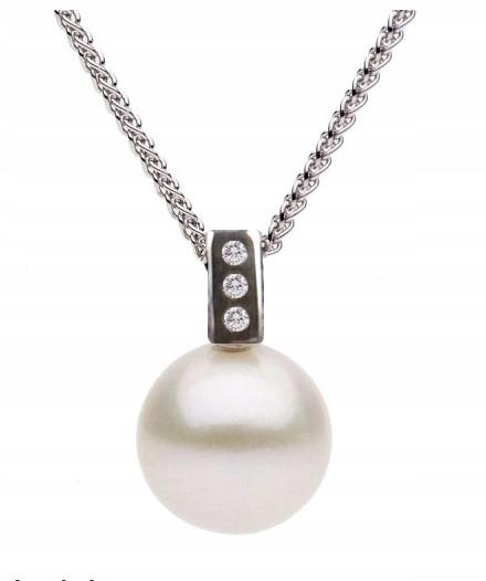 3560de845e055 Złota zawieszka z perłą Akoya 9mm i 3 diamentami - 6690810927 ...