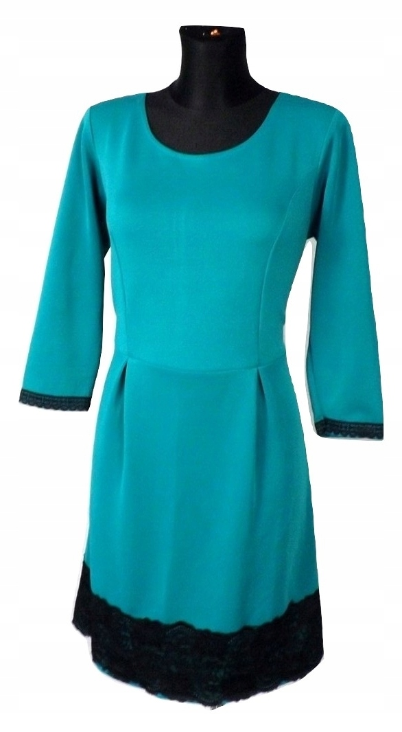 80784e3c74 MOON butelkowa zieleń sukienka z koronką święta 42 - 7730784569 ...