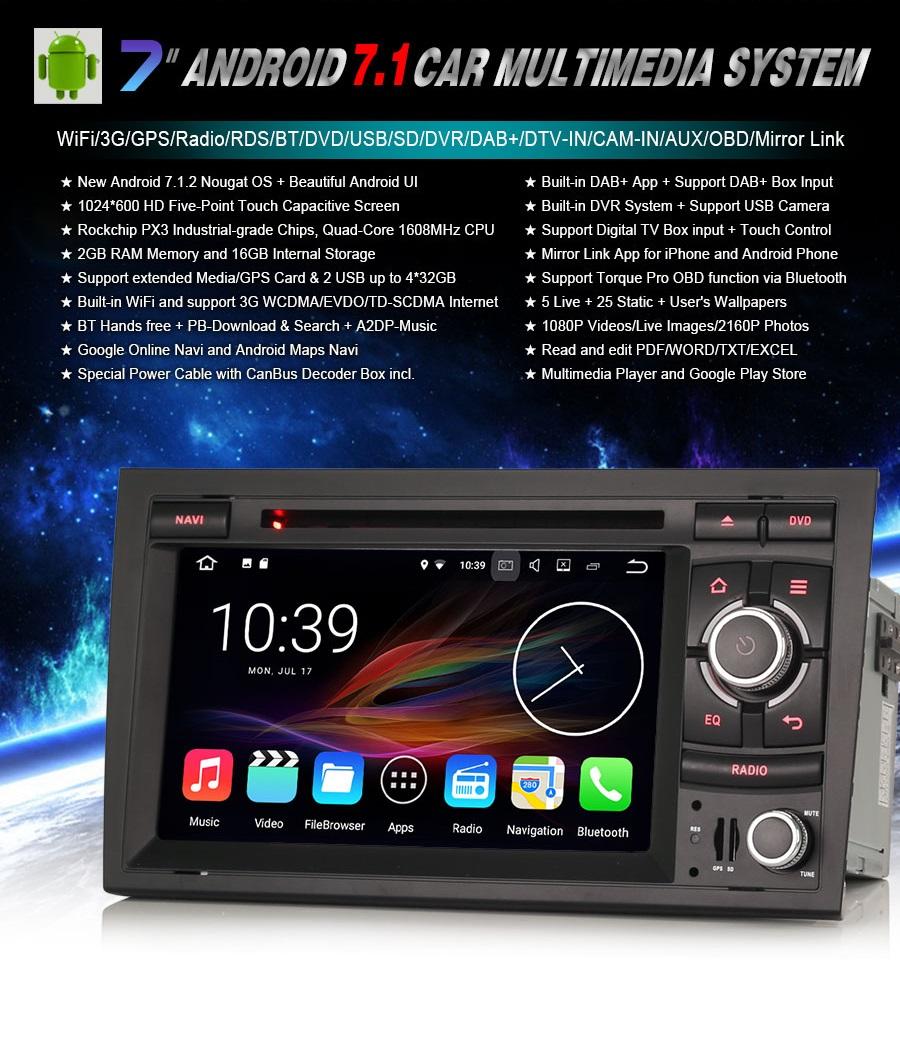 Radio DAB+ Android 7 GPS DVD USB AUDI A4 B7 EXEO - 7101044906