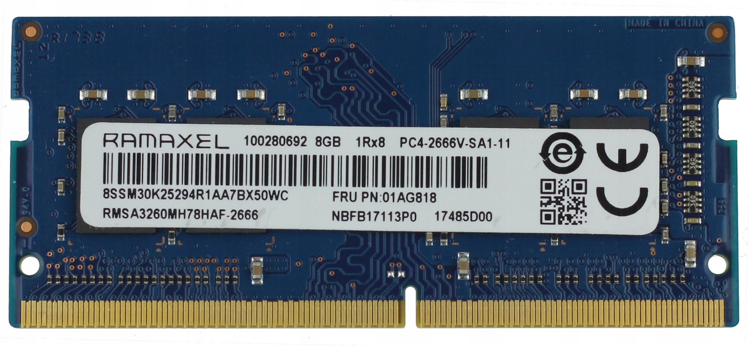NOWA 8GB 2666MHz DDR4 RAMAXEL PC4- 2666V SA1-11
