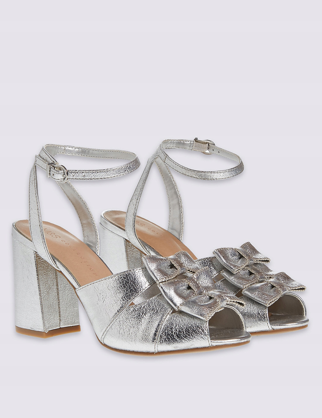 sandały srebrne kokardki słupek M&S Insolia 39 7439590723