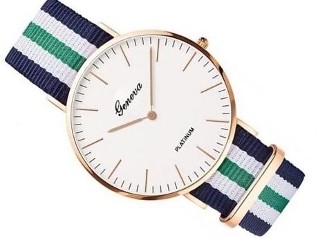 Zegarek damski męski Geneva zielony nylon