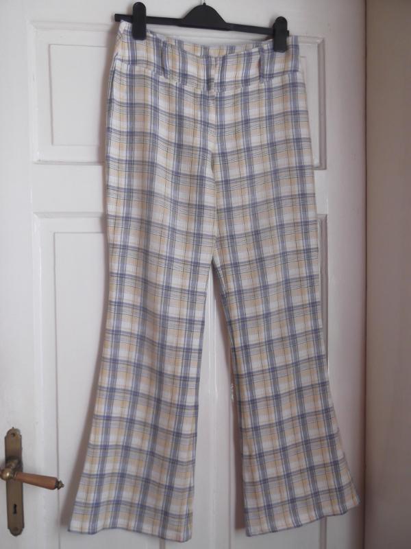 spodnie vintage w kratę styl lat 70 len