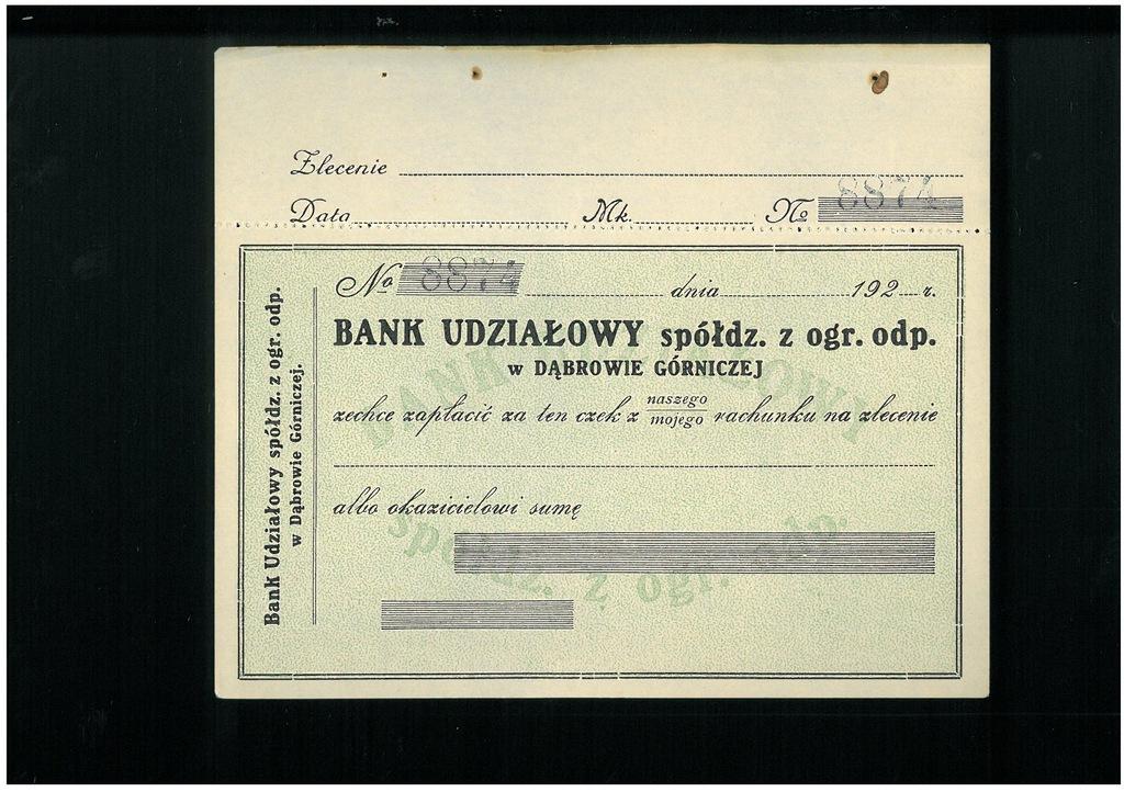 Czek Banku Udziałowego w Dąbrowie G - przedwojenny