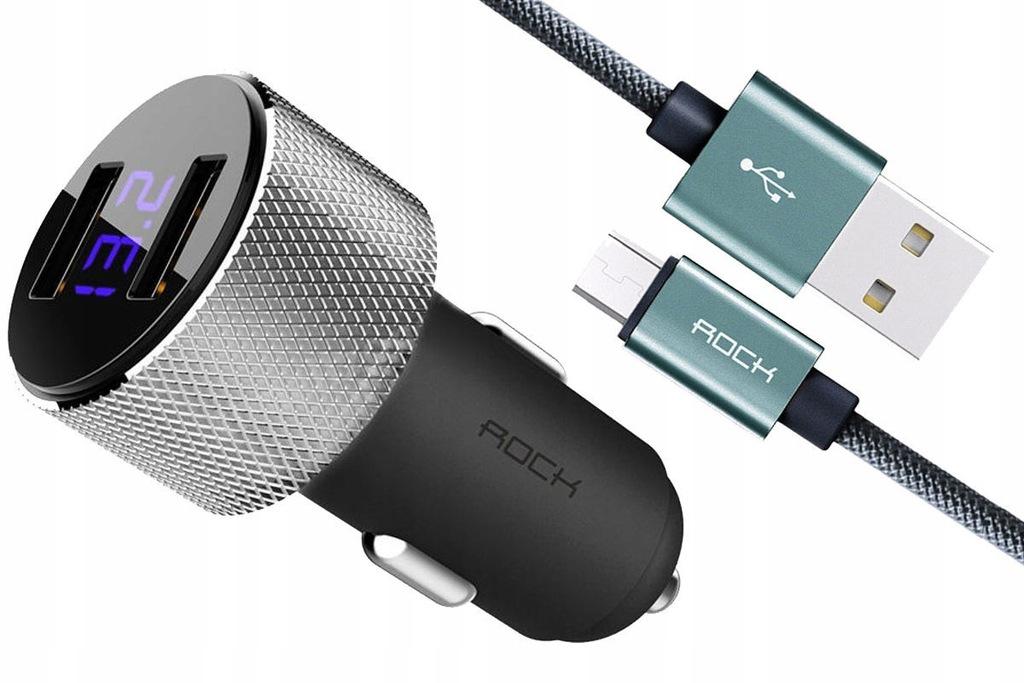 ROCK Sitor LED ŁADOWARKA SAMOCHODOWA 2x USB +KABEL