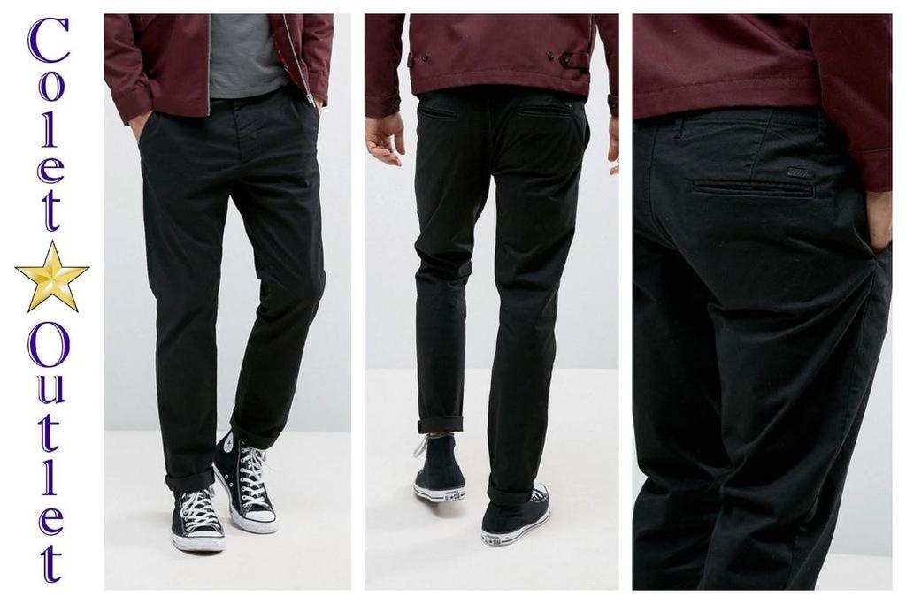 mo57 spodnie męskie czarne chinos slim fit 32/34