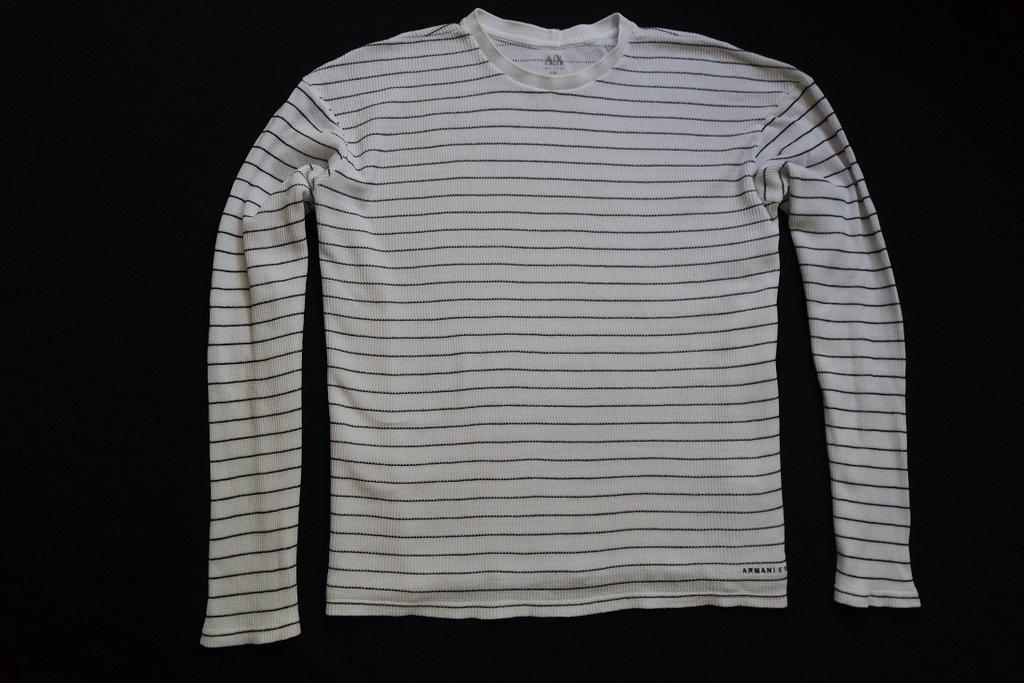 ARMANI EXCHANGE sweter sweterek biały paski____3XL