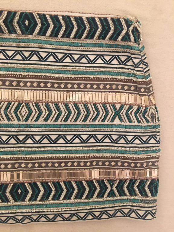 Zara mini aqua spódnica koraliki aztec hit 7679762571